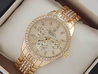 Женские кварцевые наручные часы Rolex на металлическом браслете золотого цвета со стразами, фото 1