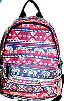 Джинсовые рюкзаки (БОРДО - ПРИНТ ЭТНО)
