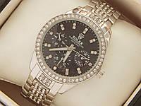 Женские кварцевые наручные часы Rolex на металлическом браслете серебряного цвета со стразами