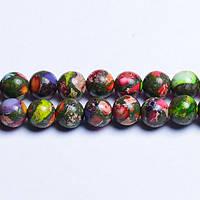 Сумасшедшая Цветная Яшма, Натуральный камень, На нитях, бусины 8 мм, Шар, 48 шт/нить