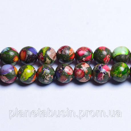8 мм Яшма Сумасшедшая, CN102, Натуральный камень, Форма: Шар, Отверстие: 1 мм, Кол-во: 47-48 шт/нить, фото 2