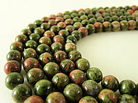 Бусины Унакит, Натуральный камень, На нитях, бусины 8 мм, Шар, Отверстие 1 мм, количество: 47-48 шт/нить