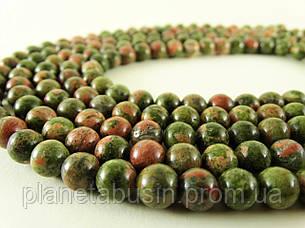 8 мм Унакит, CN103, Натуральный камень, бусины, Форма: Шар, Отверстие: 1 мм, кол-во: 47-48 шт/нить, фото 2