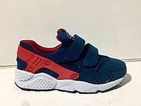 Кроссовки детские/подростковые Nike Huarache синие с красным (р-р 31-36)
