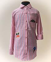Рубашка для девочек, подростковая, в полоску