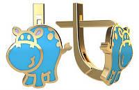 Золотые детские серьги с голубой эмалью Бегемотики на английском замке 1,80 грамм