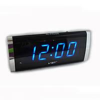 Электронные часы домашние VST 730-5: синее свечение, будильник, питание 220В/2хААА батарейки