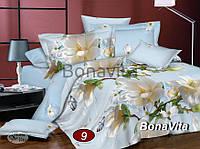 Еврокомплект постельного белья Цветочки из сатина