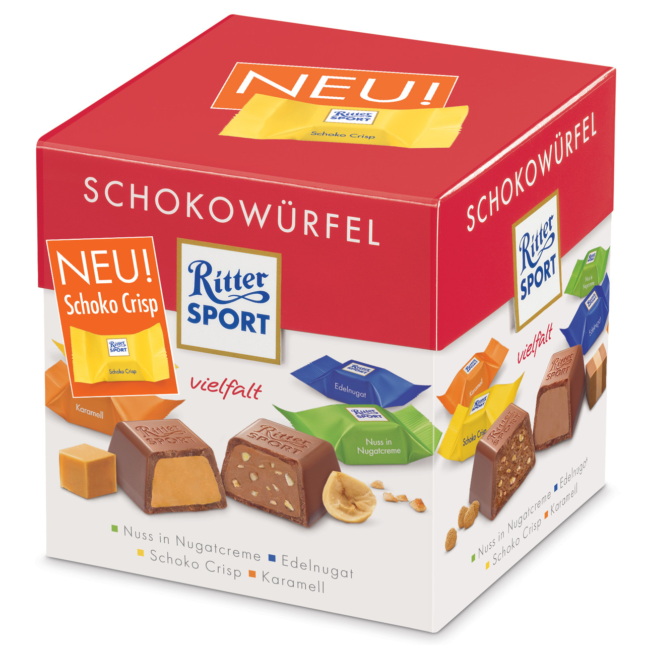 Набор шоколадных конфет Ritter Sport Schokowurfel Vielfalt (Риттер Спорт ассорти), 176 г.