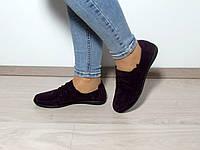 Бордовые замшевые туфли без каблука на шнурке