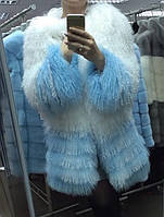 Красивая шубка из меха ламы, нежное сочетание белого и голубого цвета, длина 80 см