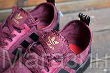 Женские кроссовки Adidas NMD Runner Suede Dark Red Адидас НМД бордовые, фото 2