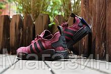 Женские кроссовки Adidas NMD Runner Suede Dark Red Адидас НМД бордовые, фото 3