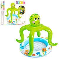 Детский надувной бассейн 57115 рыбки, 33л, 61-22см, надув.осьминог, ремкомпл, надув дно, в кор-ке, 24-23-9см