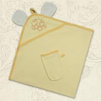 """Детское махровое полотенце с рукавичкой для купания """"Вушки"""" BetiS (желтый)"""