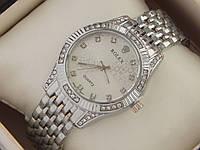 Женские кварцевые наручные часы Rolex на металлическом браслете серебряного цвета со стразами, фото 1