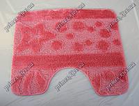 """Коврик для туалета 60х50 см """"Морское дно"""" с вырезом, цвет коралловый"""