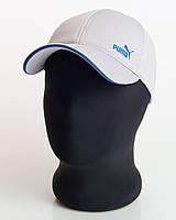 "Светло-серая кепка бейсболка логотип ""Puma"" кант электрик (лакоста шестиклинка)"