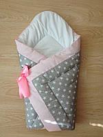 Тонкий конверт одеяло для новорожденных на выписку весна лето осень  90х90см Звезды