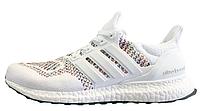 Женские кроссовки Adidas Ultra Boost Multicolor White (адидас ультра буст) белые
