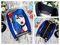 Куртка-бомбер на молнии дайвинг в модный принт арт-поп 3 расцветки 6Gb99