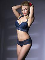 Кружевной комплект женского белья Acousma чашки В,С -S,M,L,XL  синего цвета