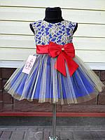 Детское нарядное выпускное платье с бантом, фото 1