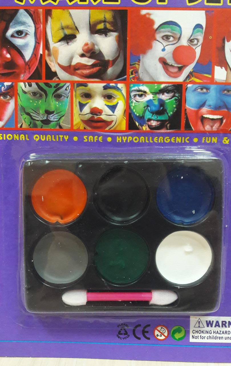 Краска для лица (грим) horror Make Up Palette 6 цветов