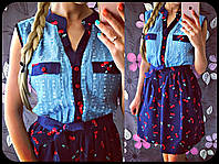 Платье  хб коттон + джинс-рванка  . Платья. Магазин одежда. Одежда интернет. Женская одежда.