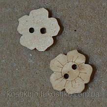 Ґудзик квітка дерев'яна 15 мм