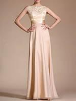Длинное бальное платье в пол из шифона и гипюра