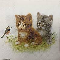 Салфетка для декупажа с котятами (33*33 см.)