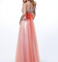 Выпускное бальное платье длинное в пол персиковое из шифона и гипюра