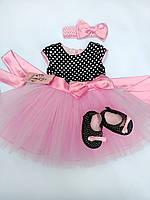 Детское нарядное платье+пинетки+повязка, фото 1