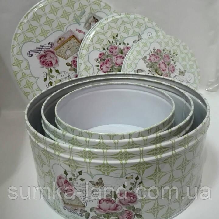 Набор металлических шкатулок из 3 штук круглой формы
