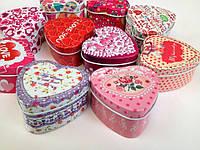 Шкатулки металлические в форме сердца для мелочей