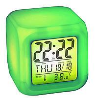 Настольные часы - будильник - ночник хамелеон (меняющий цвета) с термометром, Хит продаж