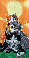 Полотенце махровое пляжное Cats, 75х150 см