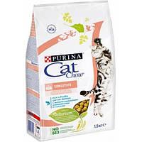 Cat Chow Adult Sensitive корм для кошек с чувствительной кожей и пищеварением, 1.5 кг