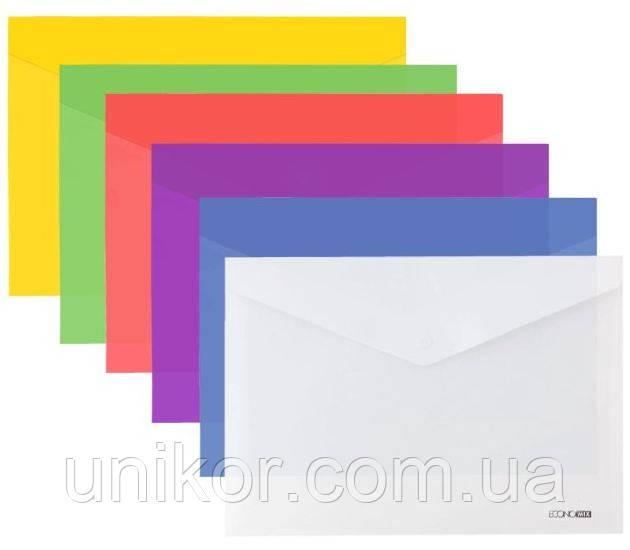 Папка-конверт на кнопке А4, полупрозрачная, ассорти. ECONOMIX