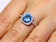Кольцо серебро 925 проба 16.5 размер АРТ1192 Голубой