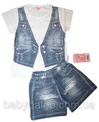 Детский костюм для девочки обманка джинсовый жилет (от 3 до 6 лет), фото 2