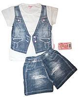 Детский костюм для девочки обманка джинсовый жилет (от 3 до 6 лет)