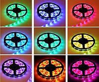 Очень яркая! Светодиодная лента (в силиконе) RGB 5050 5м+пульт+контроллер+блок питания, LED лента многоцветная, Хит продаж