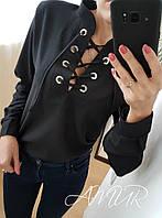 Красивая коттоновая блузка на шнуровке черного цвета