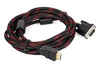 Кабель HDMI - VGA 1.5 метра, усиленная обмотка, качественная передача данных, Хит продаж