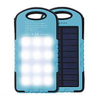 Солнечное портативное зарядное устройство со светодиодной лампой, POWER BANK 10800mAh защищённое!, Хит продаж