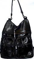 Женская сумка - рюкзак из эко кожи (6 цветов) ЧЕРНЫЙ