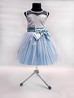 Детское нарядное выпускное платье голубое с бантом