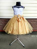 Детское нарядное выпускное платье, золотое с бантом, фото 1